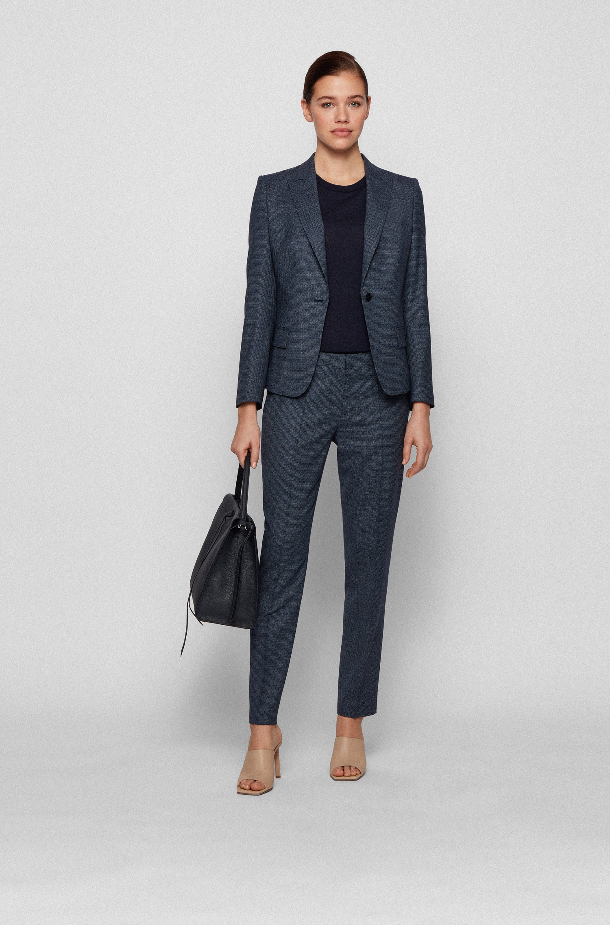 Regular-fit trousers in micro-patterned stretch-wool serge