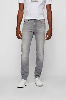Regular-Fit Jeans aus Super-Stretch-Denim, Hellgrau