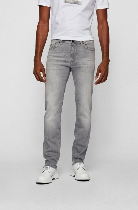 Regular-fit jeans in grey super-stretch denim, Light Grey