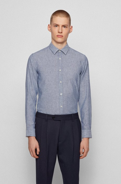 Garment-washed slim-fit shirt in patterned dobby, Dark Blue