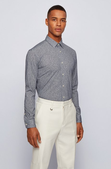 Slim-fit shirt in recycled fabric and cotton, Blue Patterned