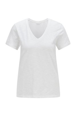Regular-fit V-neck T-shirt in slub cotton, White