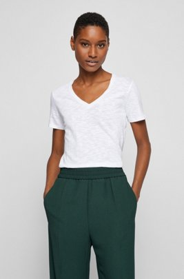 Regular-fit V-neck T-shirt in slub cotton, White