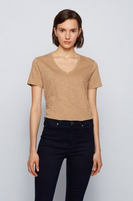 Regular-fit V-neck T-shirt in slub cotton, Beige