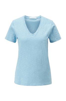 T-Shirt aus strukturierter Baumwolle mit V-Ausschnitt, Hellblau