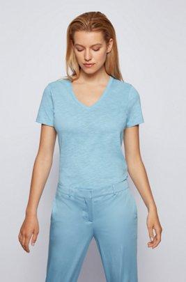 Regular-fit V-neck T-shirt in slub cotton, Light Blue