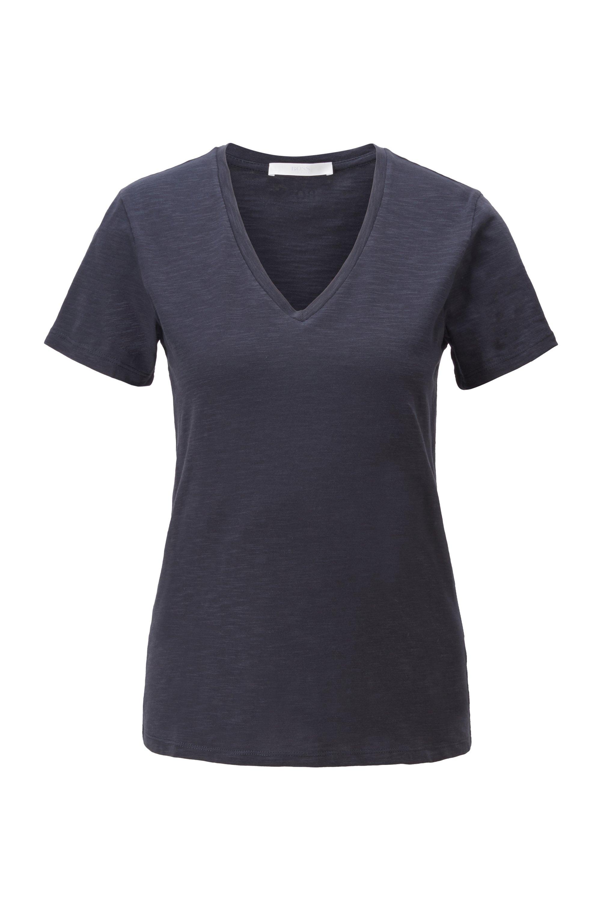 Regular-fit V-neck T-shirt in slub cotton, Dark Blue