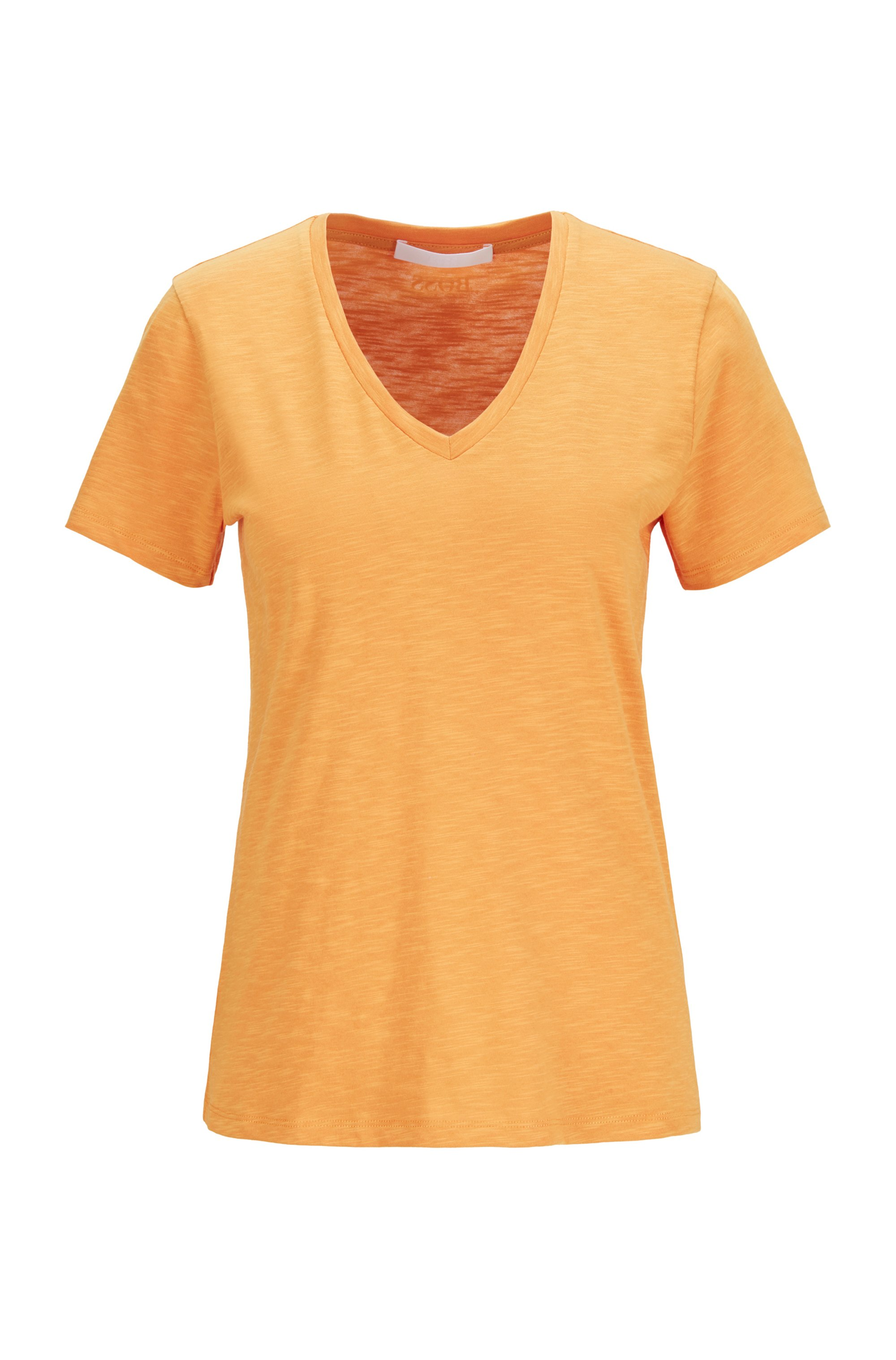 Regular-fit V-neck T-shirt in slub cotton, Light Yellow