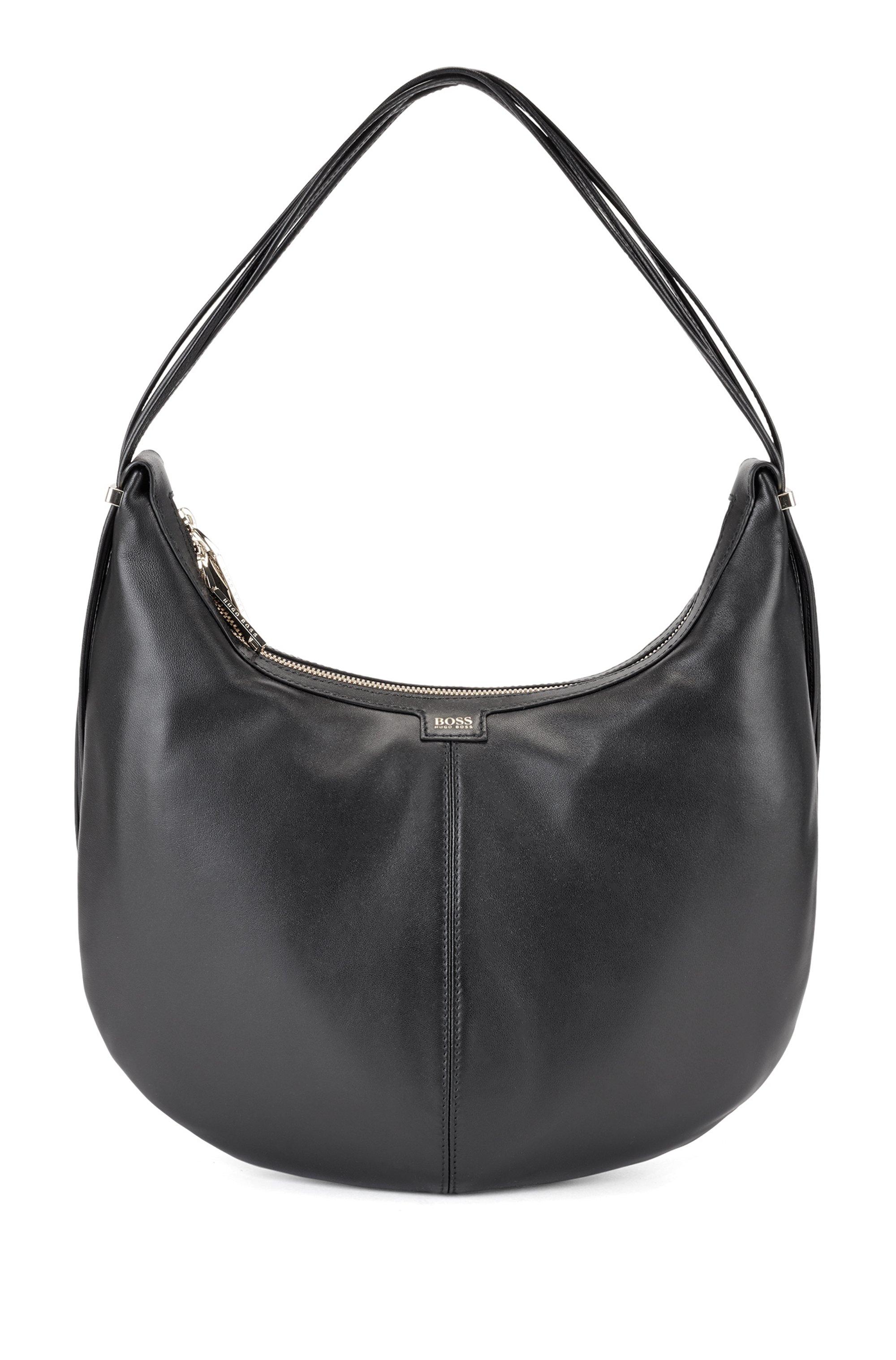 Hobo Bag aus Nappaleder mit polierten Metalldetails, Schwarz