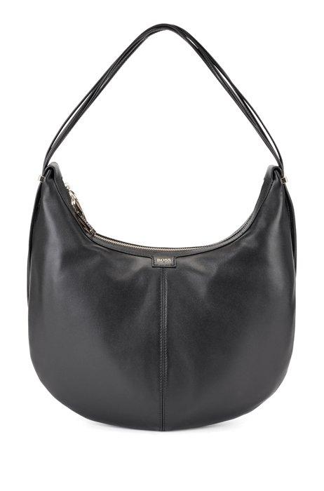 Nappa-leather hobo bag with polished hardware, Black