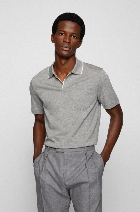 Open-neck polo shirt in a slub-cotton blend, Light Grey