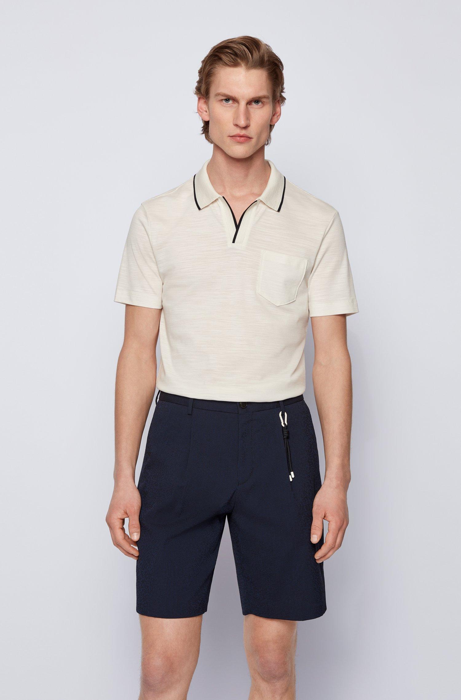 Open-neck polo shirt in a slub-cotton blend, White