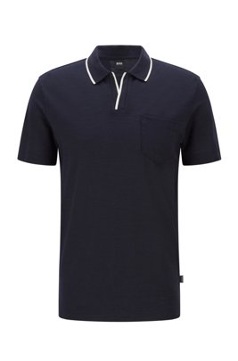 Open-neck polo shirt in a slub-cotton blend, Dark Blue