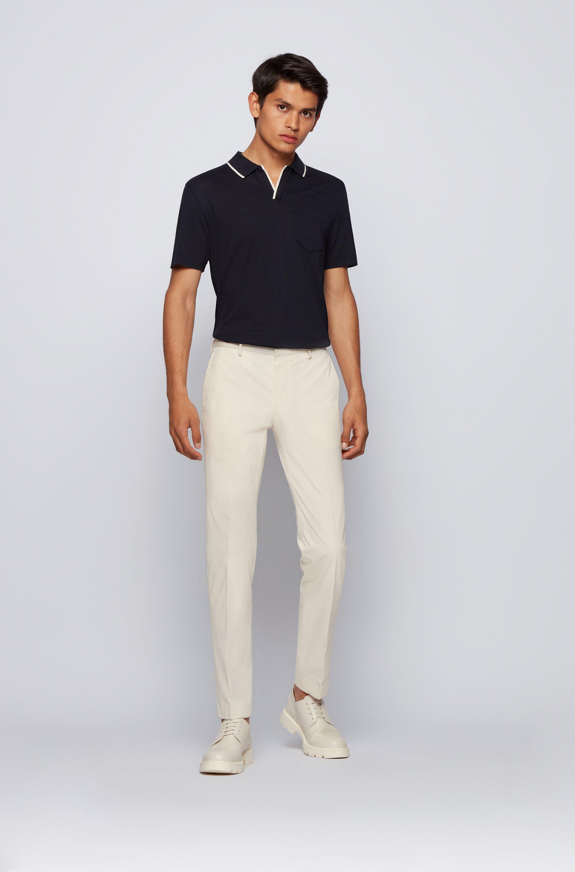 Open-neck polo shirt in a slub-cotton blend