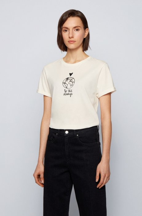 Regular-fit organic-cotton T-shirt with slogan artwork, White