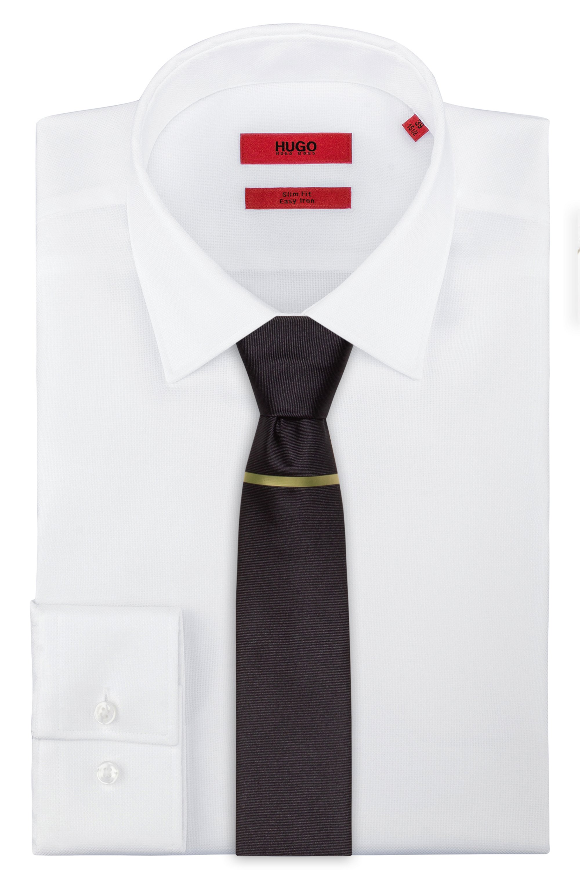 Pure-silk tie with reflective gold print