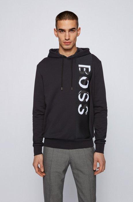 フレンチテリー フーデッドスウェットシャツ ラージロゴ, ブラック