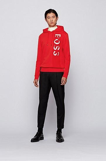 饰有大型徽标的法国毛圈布连帽运动衫,  628_亮红色