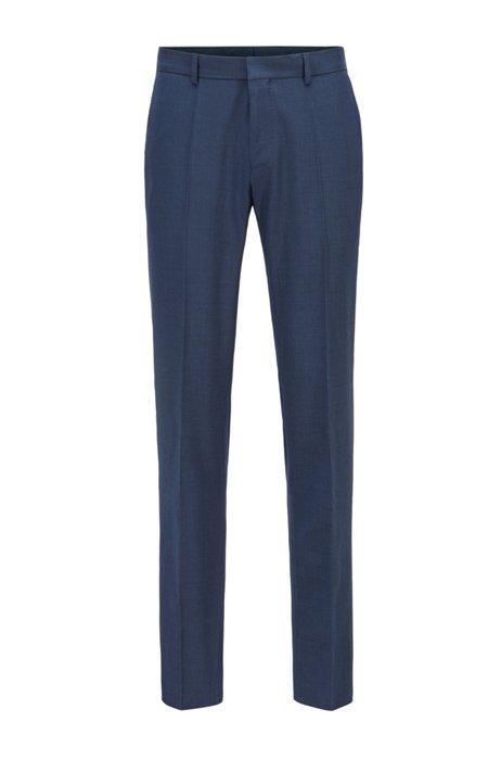 Slim-fit trousers in stretch wool with silk, Dark Blue