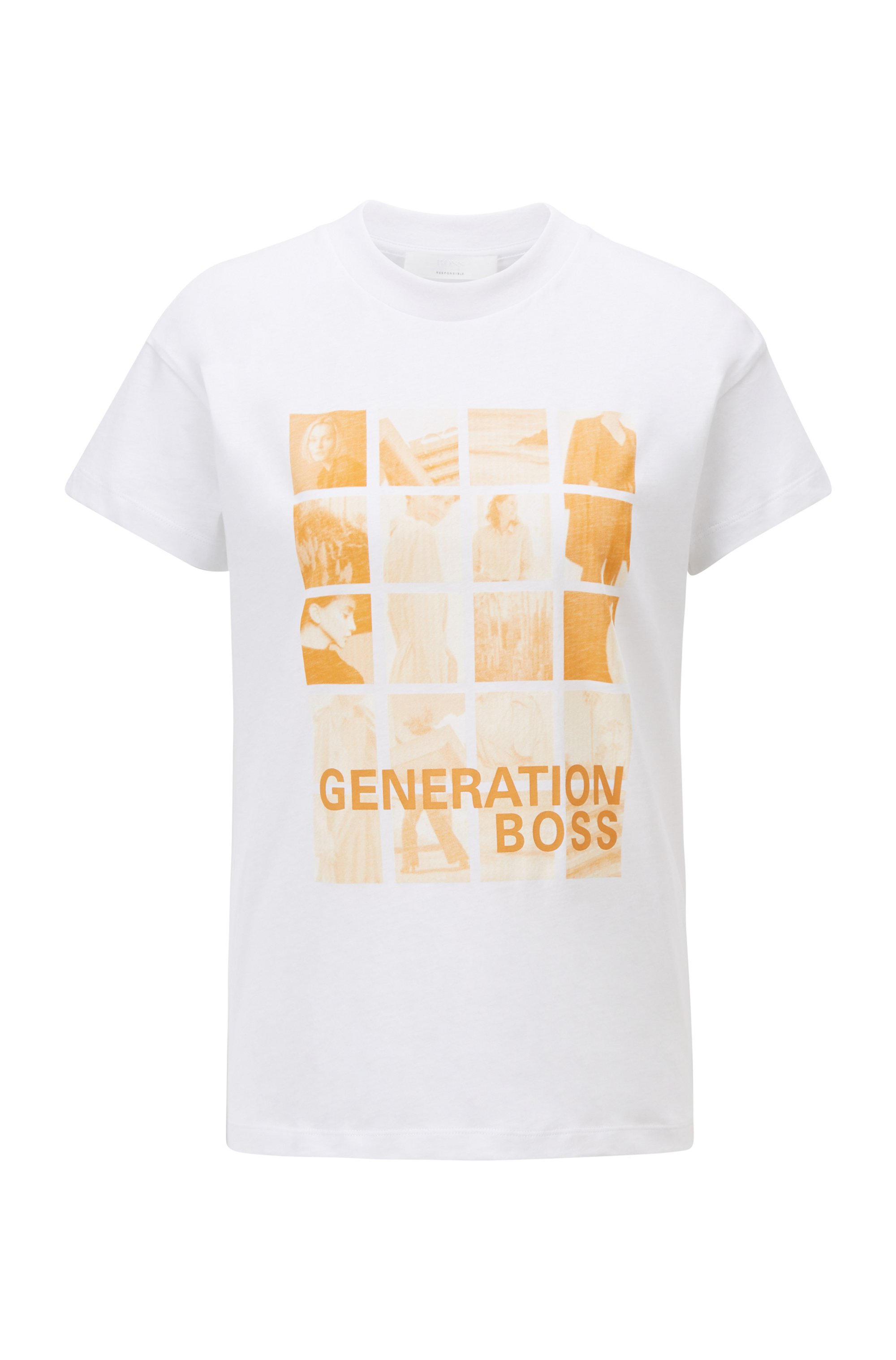 Relaxed-fit T-shirt in Recot²® cotton with collection-themed print, White