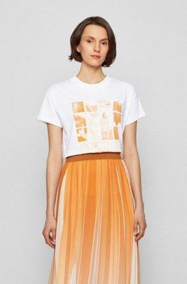 Camiseta relaxed fit en algodón recot²® con estampado de la colección, Blanco