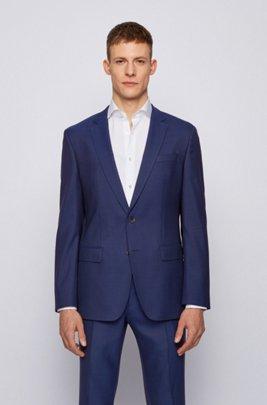 Slim-fit jacket in stretch wool with silk, Dark Blue