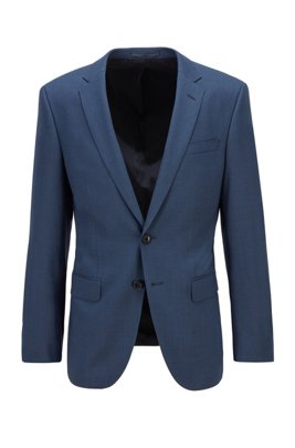 Slim-fit jacket in stretch wool with silk, Blue