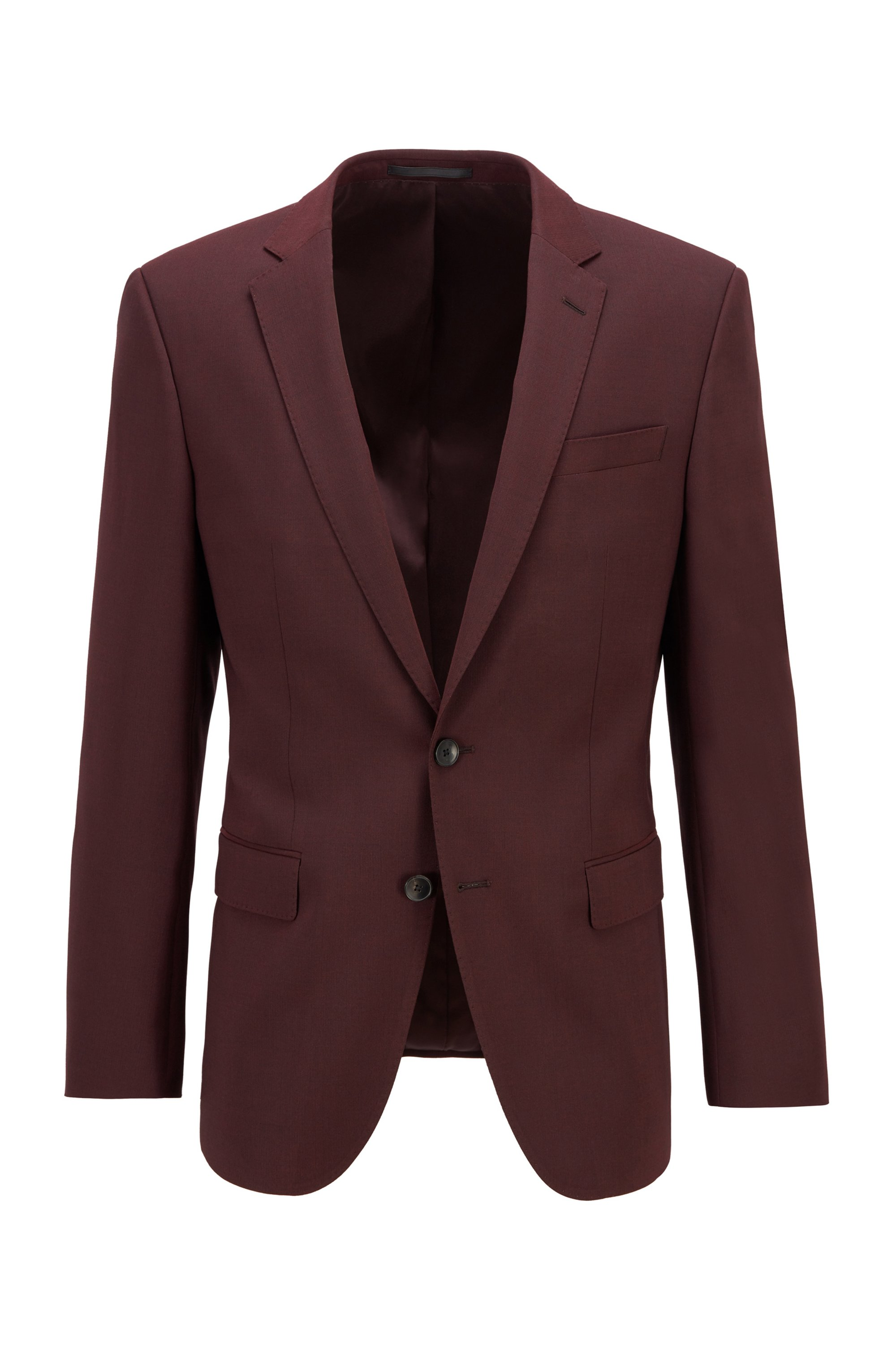 Slim-fit jacket in stretch wool with silk, Dark Red