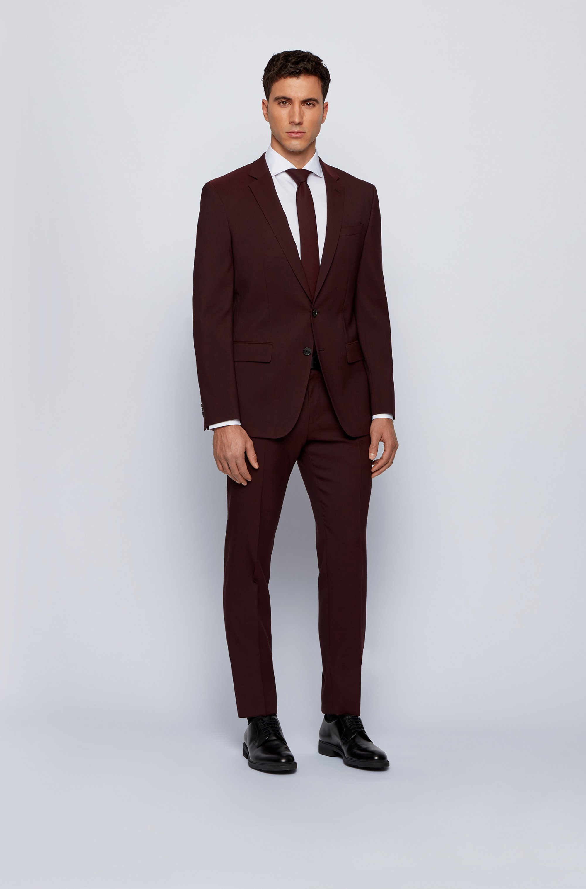 Slim-fit jacket in stretch wool with silk