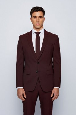Slim-fit jacket in stretch wool with silk, Dark Red