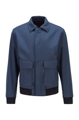 Blouson-style slim-fit jacket in stretch wool with silk, Dark Blue