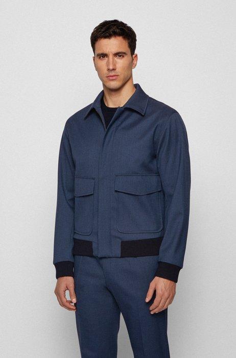Blouson-style slim-fit jacket in stretch wool with silk, Dark Blue