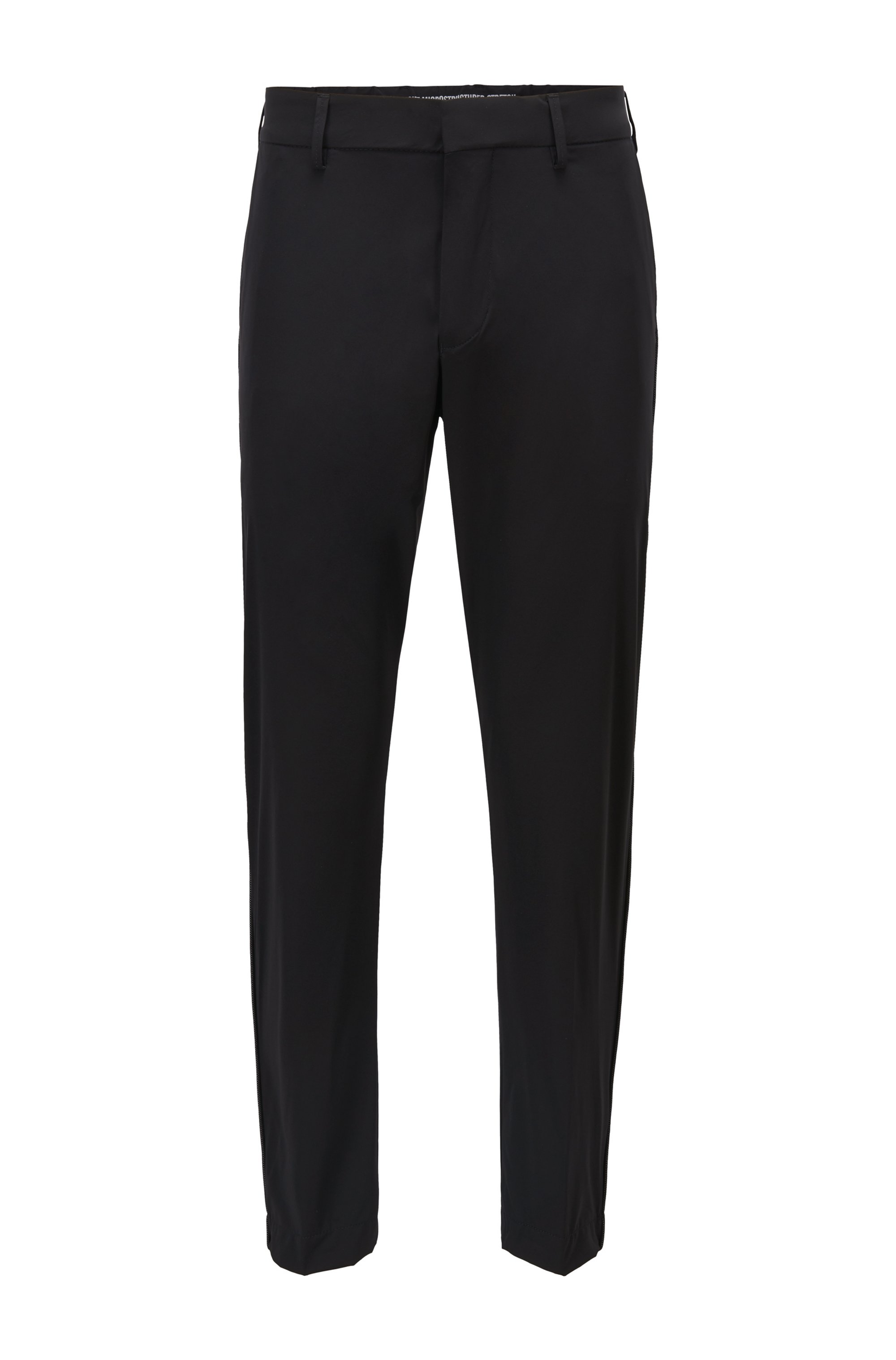 Water-repellent tapered-fit trousers with reflective mesh piping, Black