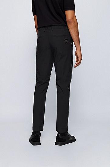 反光网眼滚边防水锥形长裤,  001_黑色