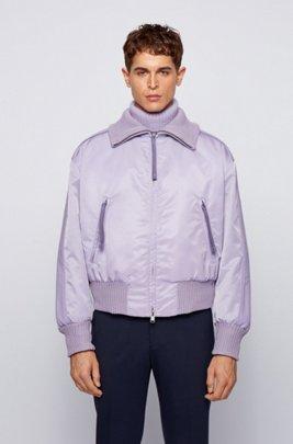 Sleeve-stripe bomber jacket in Italian twill, Light Purple