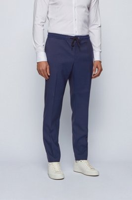 Slim-fit trousers in a wool blend with drawstring waist, Dark Blue