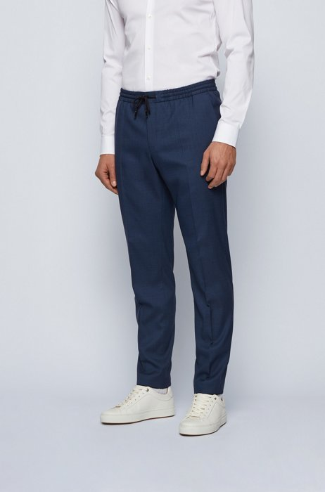 Slim-fit trousers in a wool blend with drawstring waist, Blue