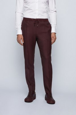 Slim-fit trousers in a wool blend with drawstring waist, Dark Red