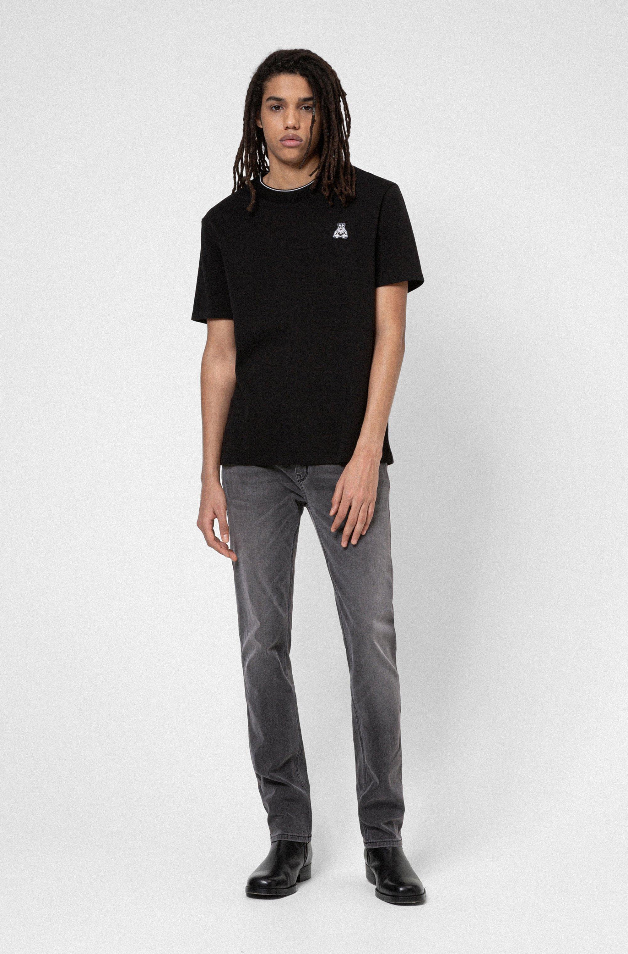 Slim-fit jeans in grey comfort-stretch denim