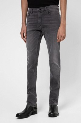Slim-fit jeans in grey comfort-stretch denim, Dark Grey