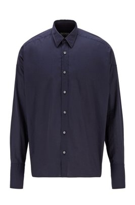 Relaxed-fit shirt in paper-touch Italian cotton, Dark Blue
