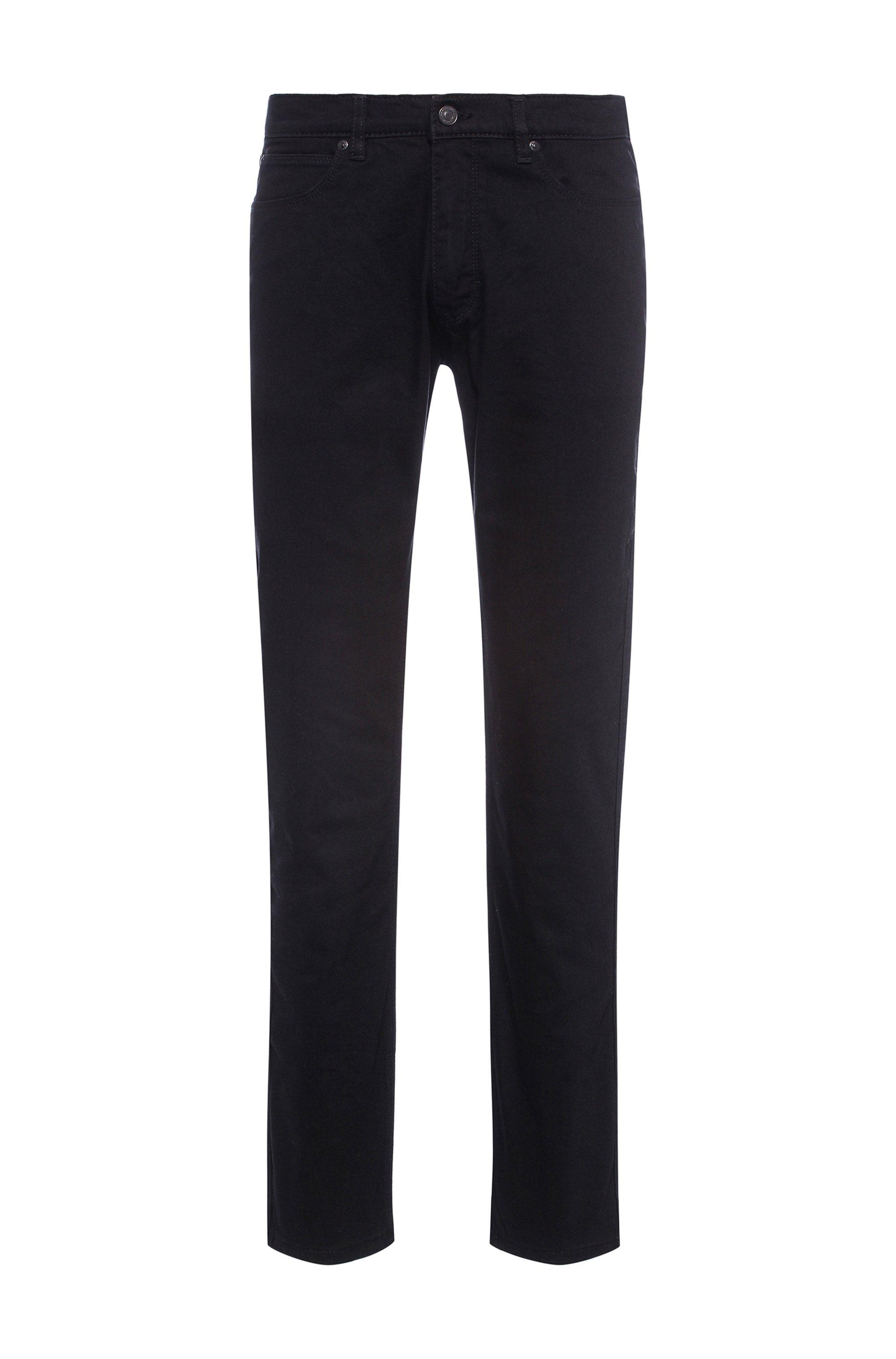 Slim-fit jeans in rinse-wash black stretch denim, Black