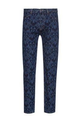 Зауженные джинсы из синего денима слазерным рисунком, Синий с узором