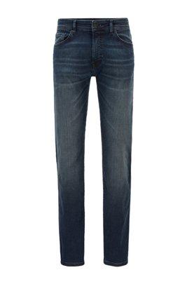 Jeans regular fit in denim super stretch blu scuro, Blu scuro