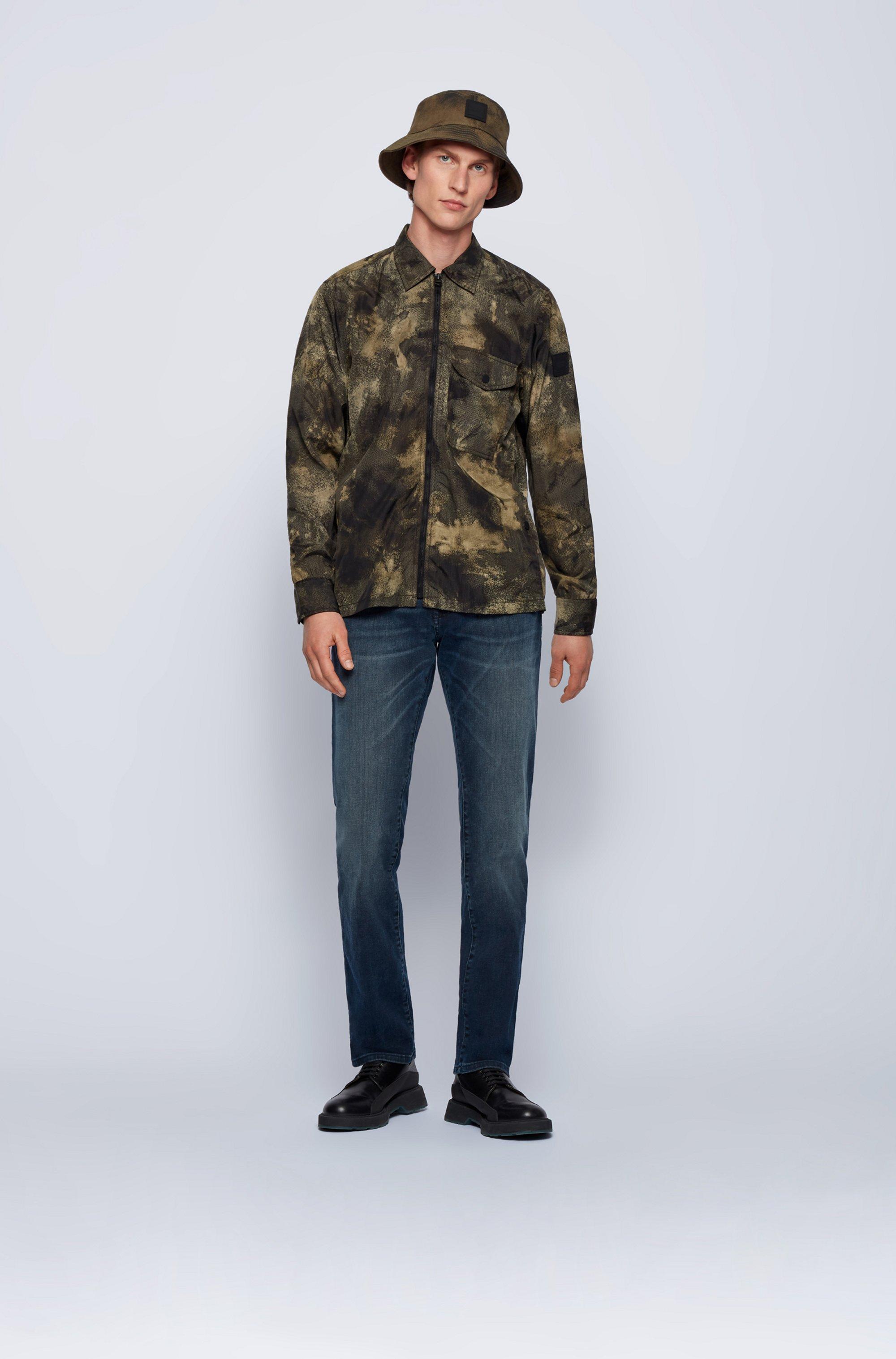 Jeans regular fit in denim super stretch blu scuro