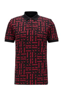 Monogrammed slim-fit polo shirt in organic-cotton piqué, Red Patterned