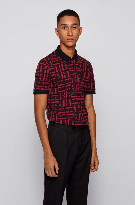 Slim-Fit Poloshirt aus Bio-Baumwoll-Piqué mit Monogrammen, Rot gemustert