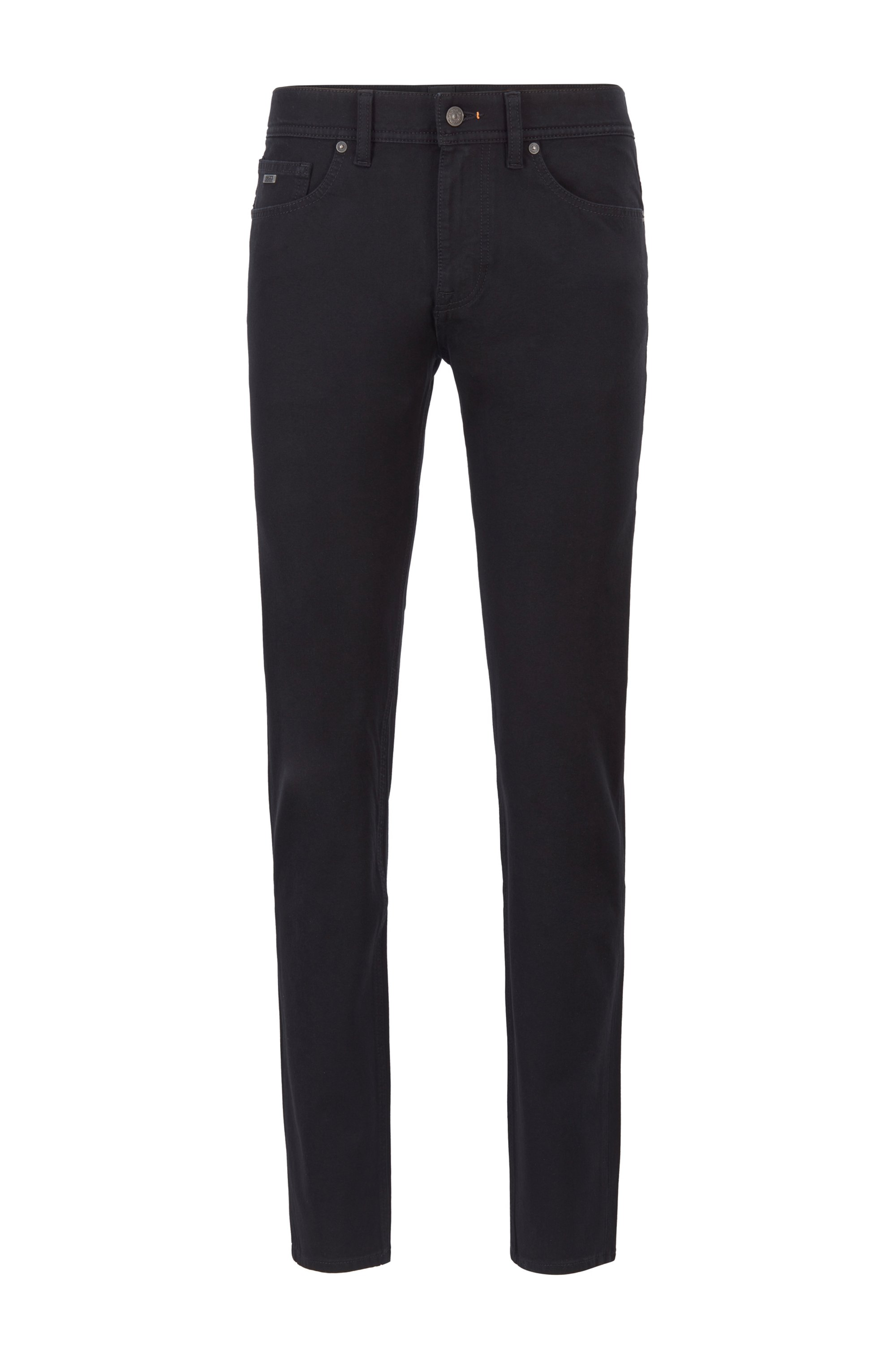 Slim-fit jeans in lightweight super-stretch cotton, Black