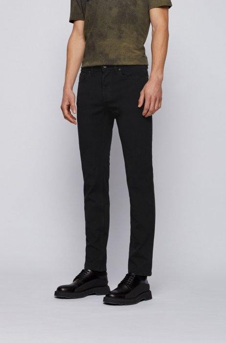 Jeans slim fit in cotone super stretch leggero, Nero
