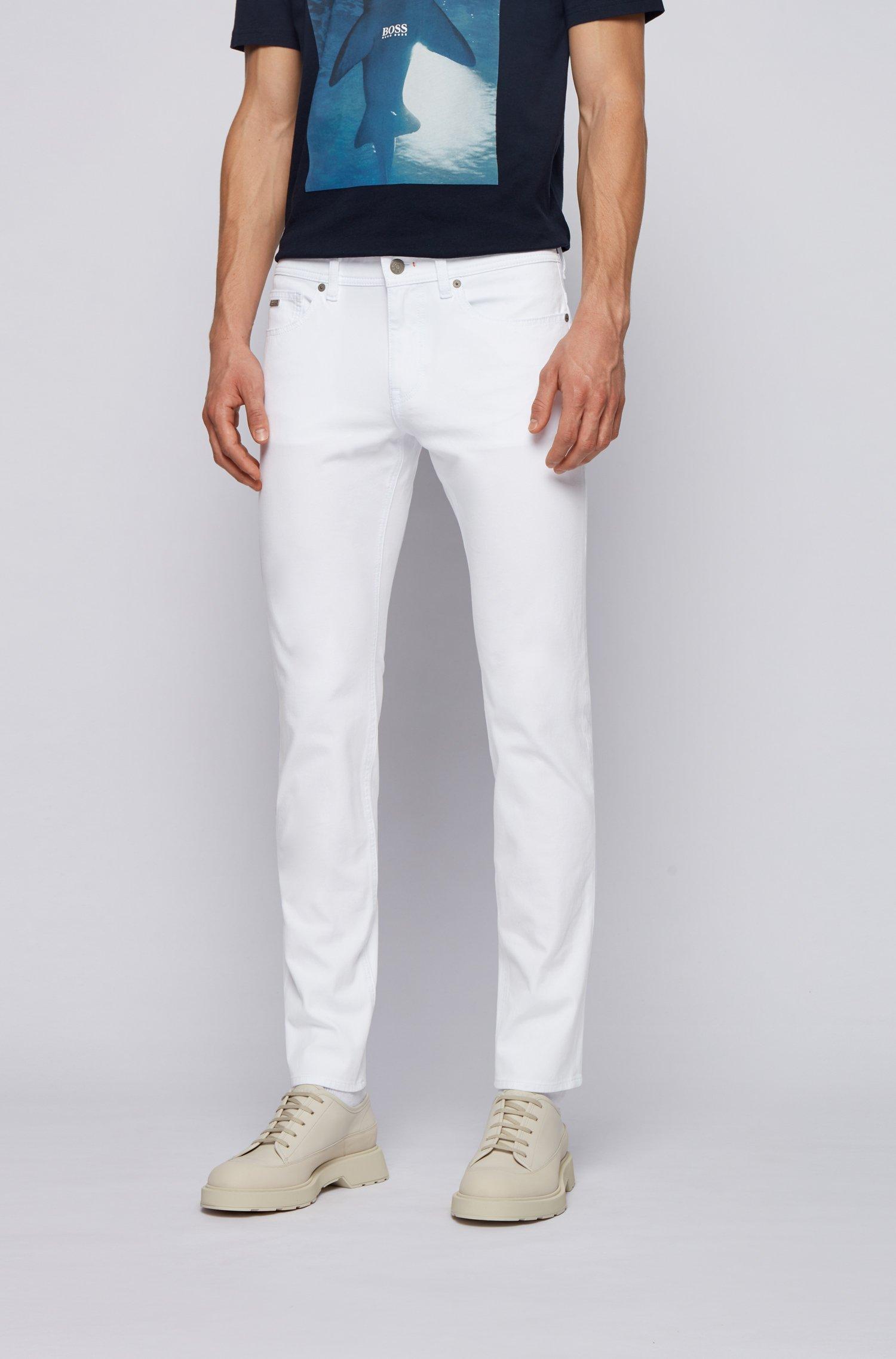 Slim-fit jeans in lightweight super-stretch cotton, White